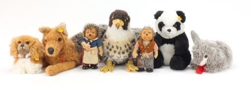 Vintage and later Steiff bears and animals including Micki the Hedgehog and Panda, the largest