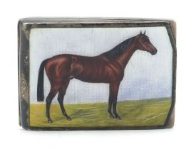 German sterling silver and enamel match box case enamelled with a thoroughbred horse, 5.5cm wide,