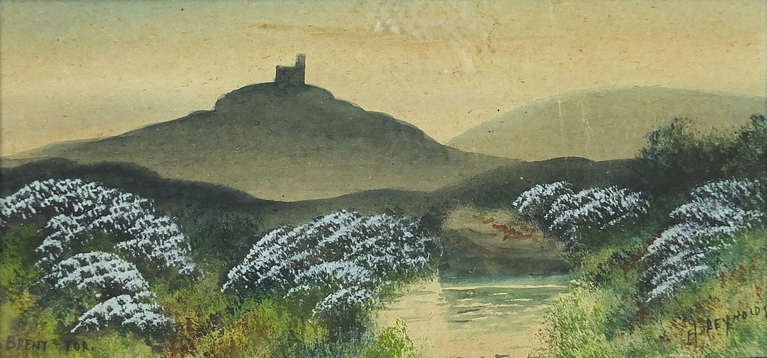 H Reynolds - Brent Tor landscapes, two heightened watercolours, framed and glazed, each - Image 2 of 11