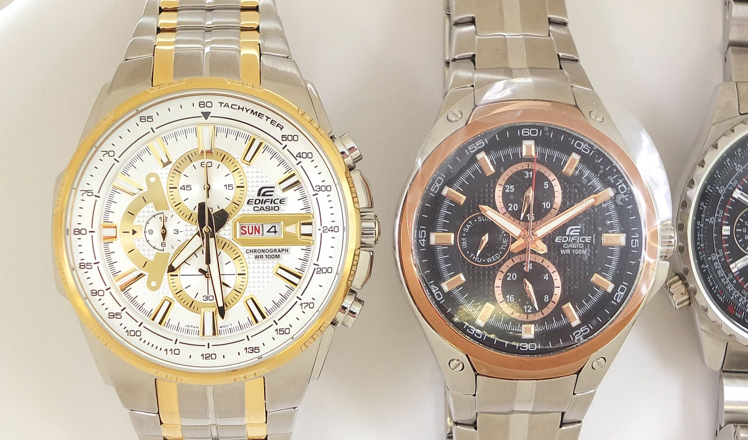 Casio Edifice, three gentlemen's wristwatches with boxes numbered 4044B7, 76E33P and 69C7F7 :For - Image 3 of 7