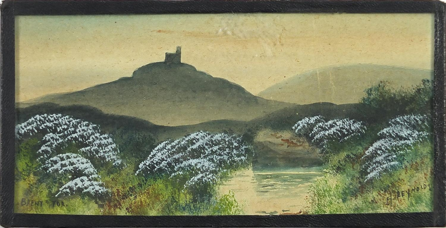 H Reynolds - Brent Tor landscapes, two heightened watercolours, framed and glazed, each - Image 3 of 11