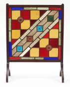 Arts & Crafts style leaded stained glass fire screen with inlaid mahogany frame, 72.5cm high x