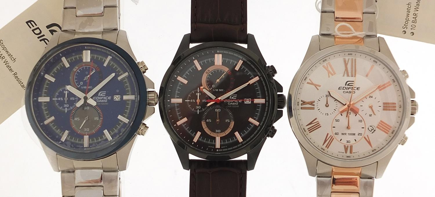 Casio Edifice, three gentlemen's wristwatches with boxes numbered 76E2AU, 776KM0 and 881CK2 :For
