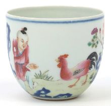 Chinese porcelain chicken cup finely hand painted in the famille rose palette, calligraphy to the