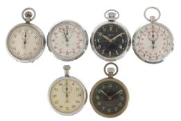 Six vintage and later open face stopwatches and pocket watches including Smith's and Roxedo :For