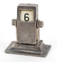 Engine turned silver rotating desk calendar, London import marks, 6.5cm high, 103.6g :For Further