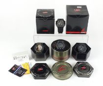 Four gentlemen's Casio G-Shock wristwatches with boxes, numbered GA-100, GA-100CF, GBA-800 and GW-