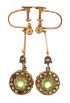 Pair of 9ct gold peridot and seed pearl drop earrings, 3.2cm high, 2.4g :For Further Condition