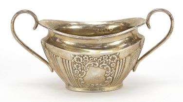 Joseph Gloster Ltd, Victorian silver sugar bowl with demi fluted body, blank cartouche and twin