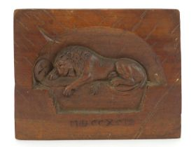 19th century Continental memorial carving of the Lion of Lucerne, 16cm x 12.5cm :For Further