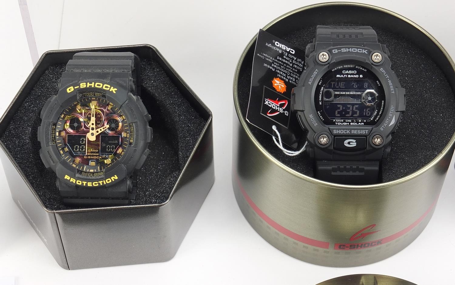 Four gentlemen's Casio G-Shock wristwatches with boxes, numbered GA-100, GA-100CF, GBA-800 and GW- - Image 4 of 5