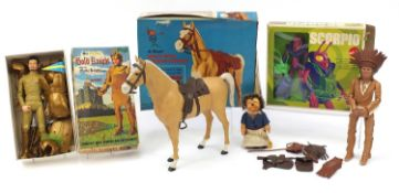 Vintage and later toys including Steiff, Marx Gold Knight and Marx Western Range horse :For