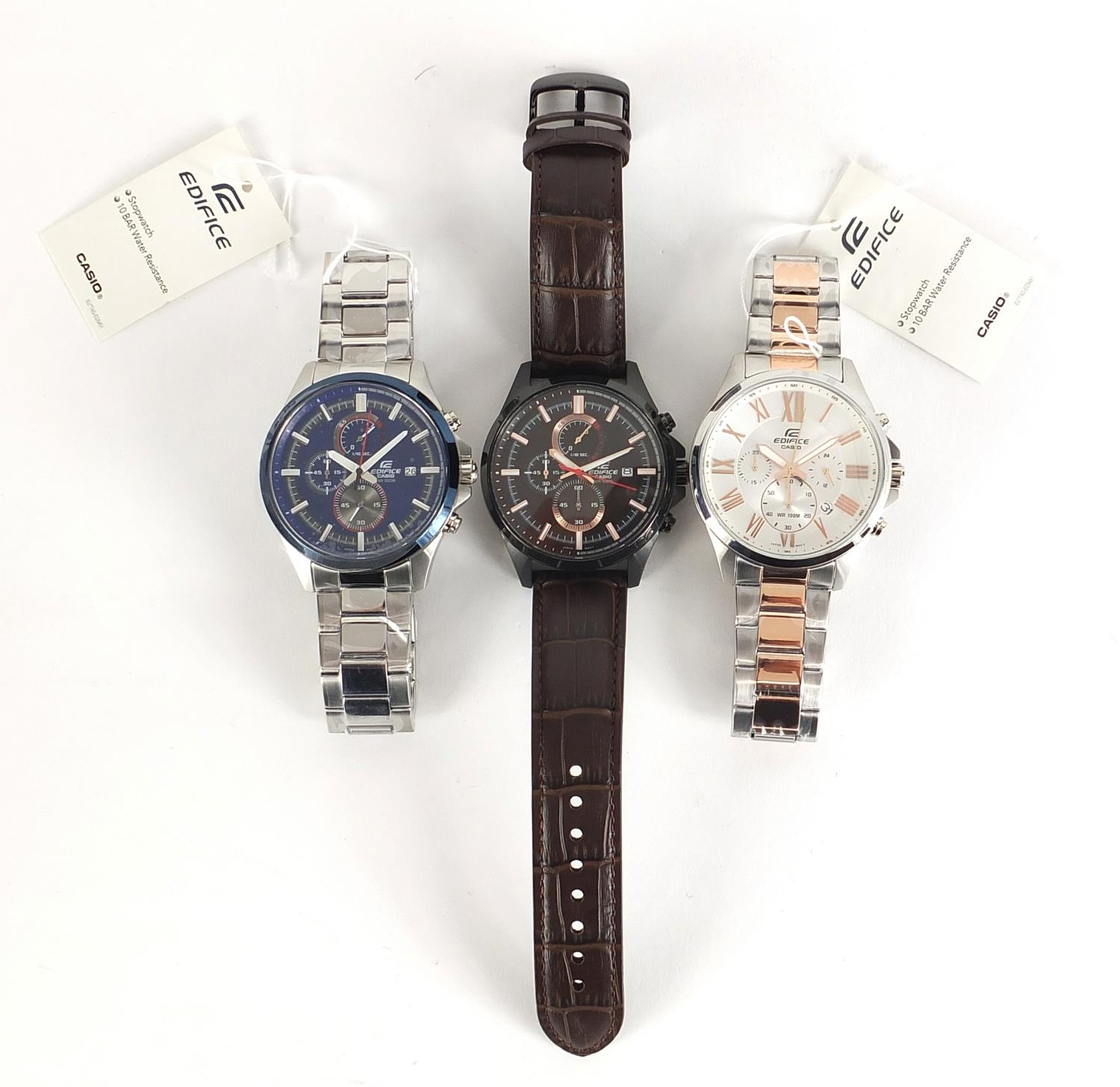 Casio Edifice, three gentlemen's wristwatches with boxes numbered 76E2AU, 776KM0 and 881CK2 :For - Image 4 of 8