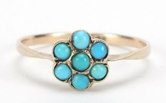 9ct gold turquoise flower head ring, size P, 1.0g :For Further Condition Reports Please Visit Our