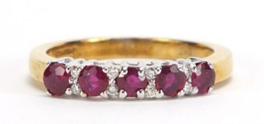 9ct gold ruby and diamond half eternity ring, size L, 2.6g :For Further Condition Reports Please