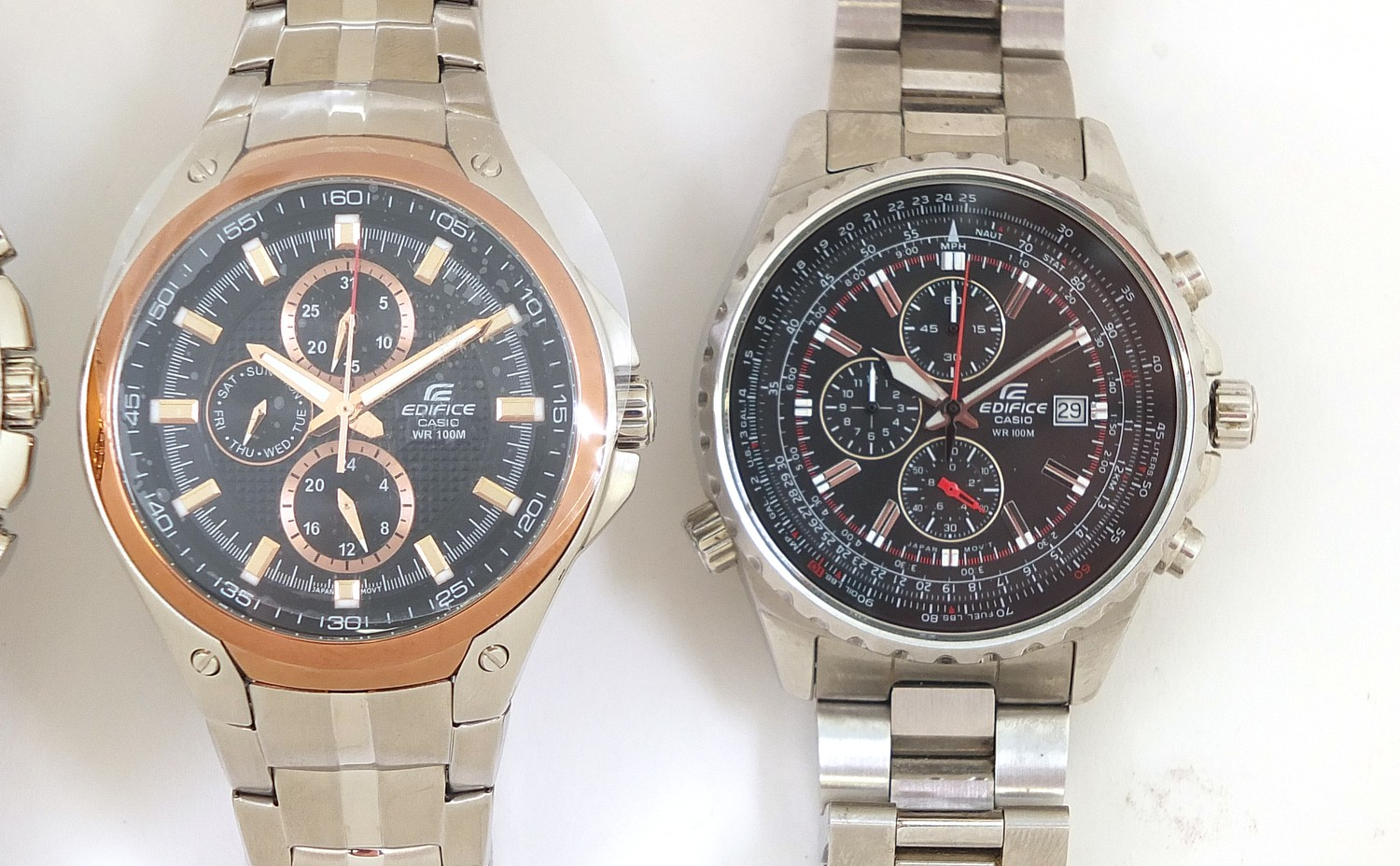 Casio Edifice, three gentlemen's wristwatches with boxes numbered 4044B7, 76E33P and 69C7F7 :For - Image 4 of 7