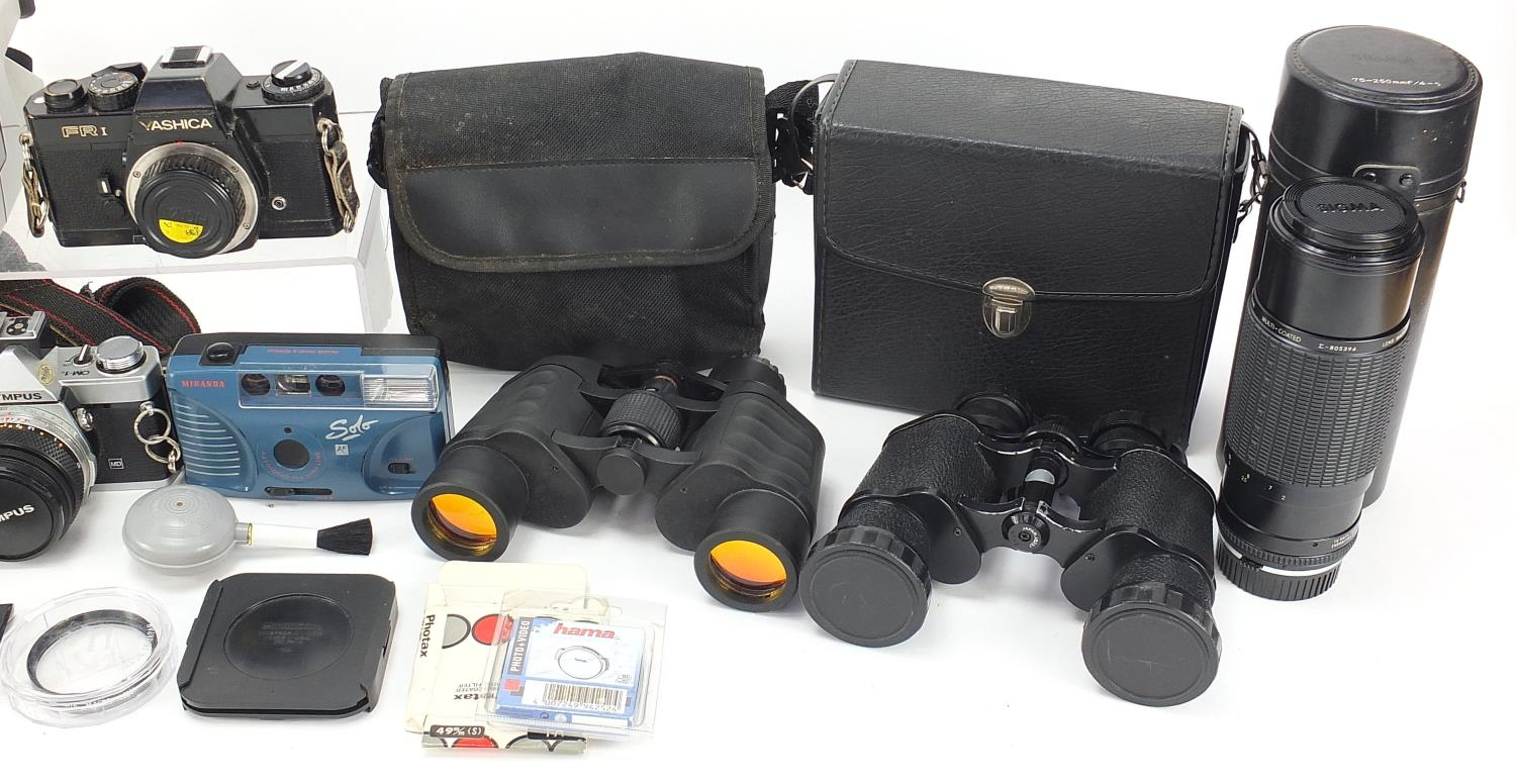Vintage and later cameras and accessories including Yashica FR I, Olympus and Sigma :For Further - Image 3 of 5