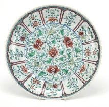 Chinese doucai porcelain plate finely hand painted with flowers amongst scrolling foliage, six
