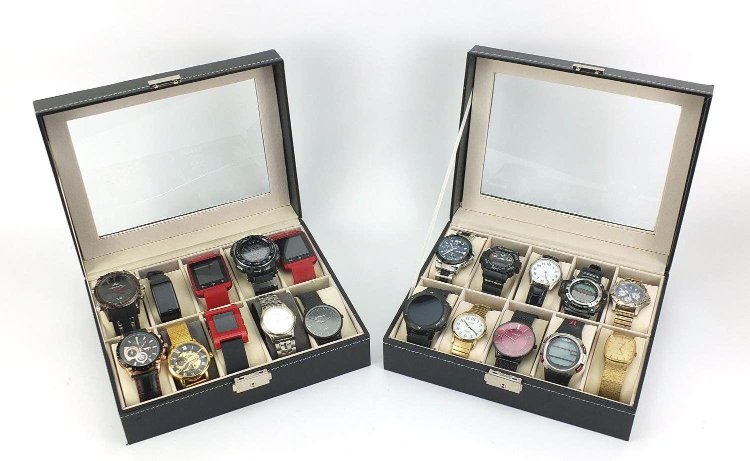 Twenty vintage and later gentlemen's wristwatches housed in two display cases, including Sekonda,