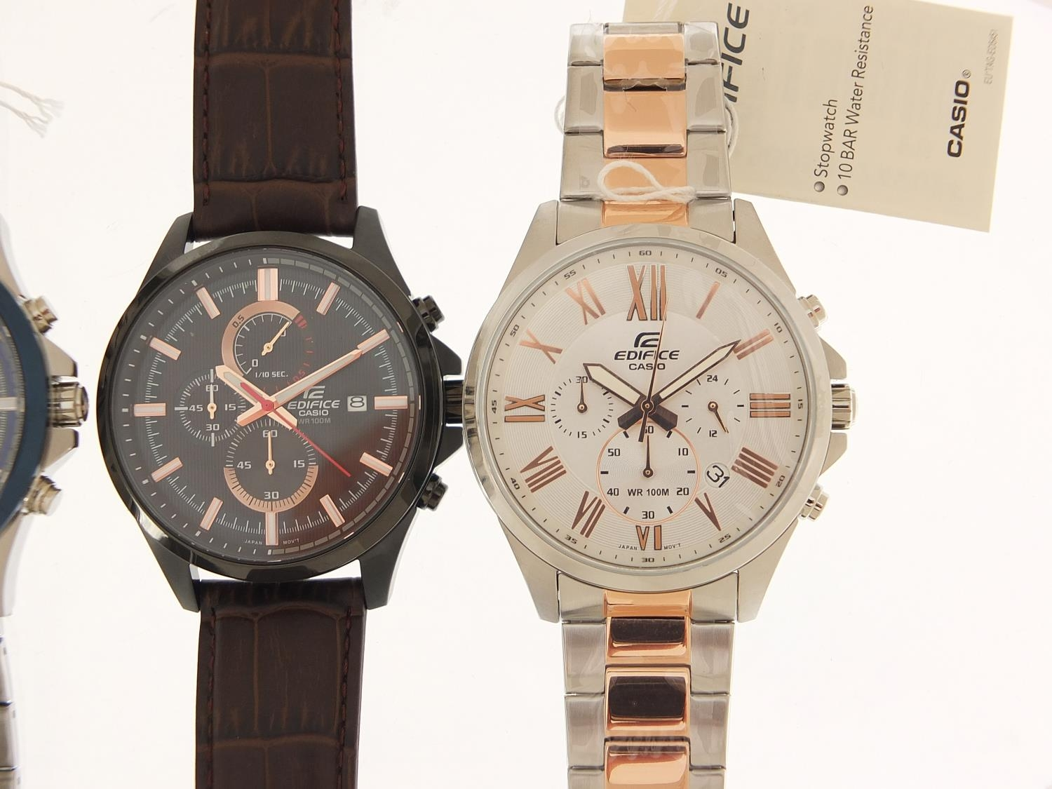 Casio Edifice, three gentlemen's wristwatches with boxes numbered 76E2AU, 776KM0 and 881CK2 :For - Image 3 of 8