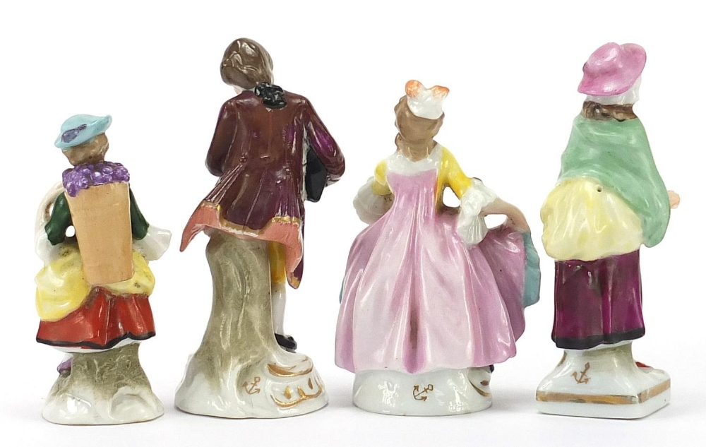 Three Chelsea style porcelain figures and Switzendorf style example, the largest 8.5cm high : For - Image 4 of 7