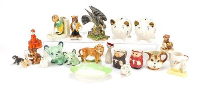 Collectable china including two Wade money banks, Silvac design dogs and Goebel monk jugs, the