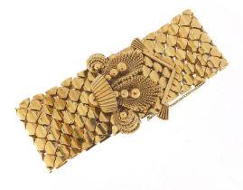 Large 9ct gold belt and buckle design bracelet with floral basket design clasp, S & SLD maker's