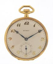 Buren 18ct gold open face pocket watch with subsidiary dial, the case numbered 101911, 46mm in