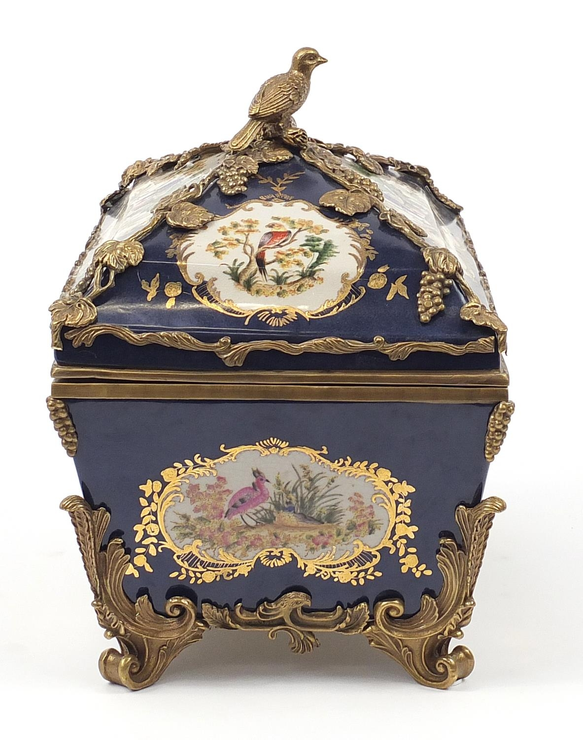 Continental bronze mounted porcelain table casket decorated with birds, leaves and berries, 35cm H x - Image 4 of 10