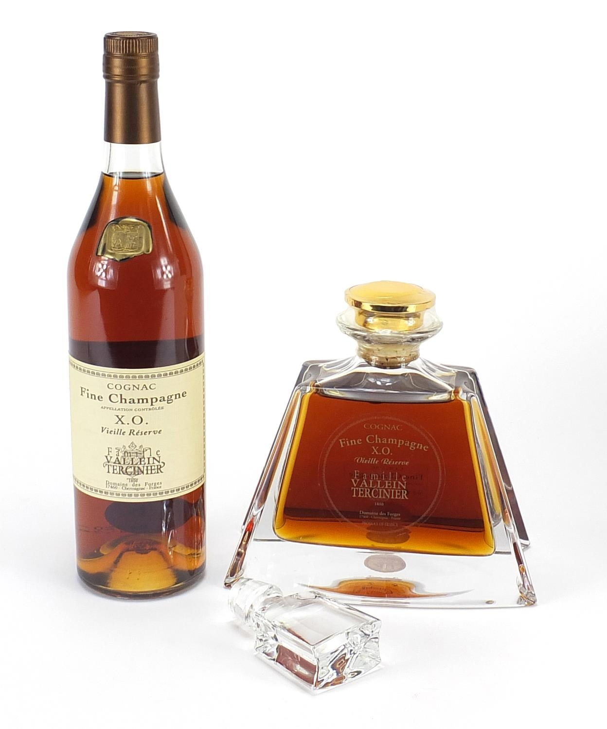 Two bottles of Famille Vallein Tercinier XO Fine Campagne cognac including one with decanter - Image 2 of 3
