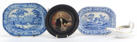 19th century ceramics including a Prattware Late Prince Consort pot lid and Copeland Spode blue