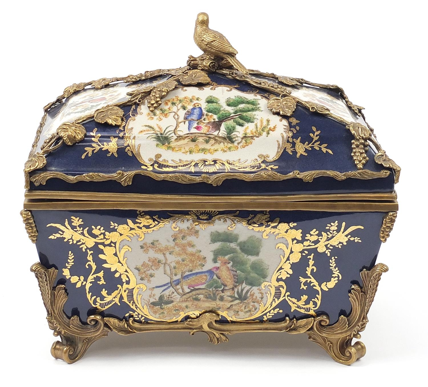 Continental bronze mounted porcelain table casket decorated with birds, leaves and berries, 35cm H x - Image 5 of 10
