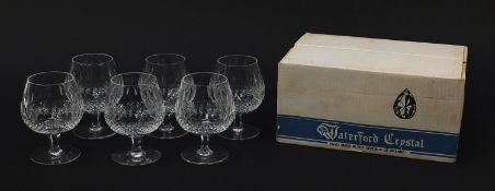 Set of six Waterford Crystal Colleen pattern brandy glasses with box, 13cm high : For Further