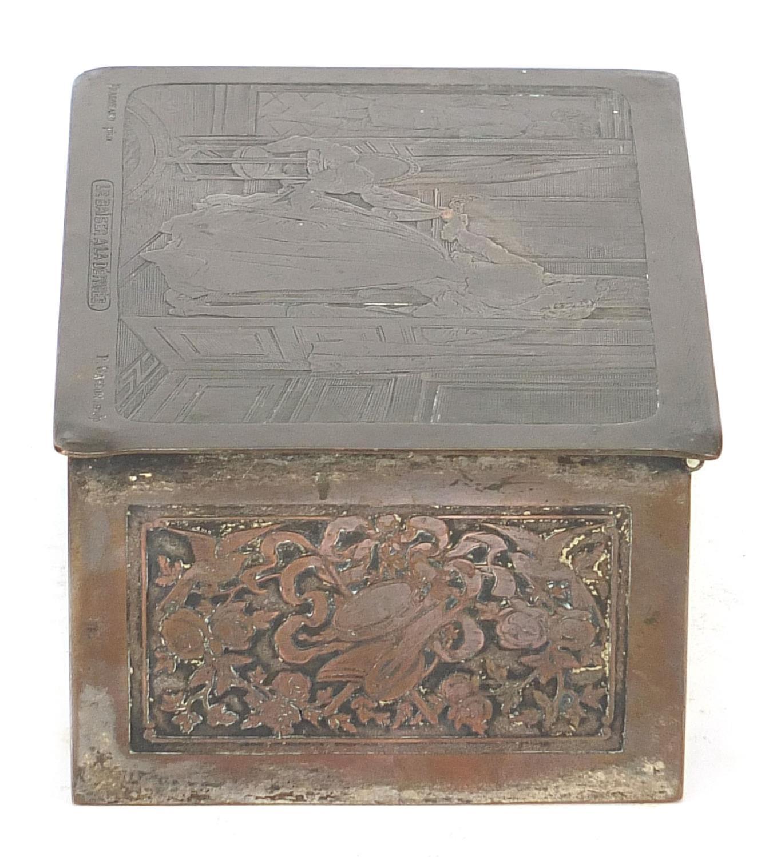 WMF silver plated casket titled Le Baiser a la Derdbee, 5.5cm H x 13.5cm W x 9cm D : For Further - Image 9 of 13