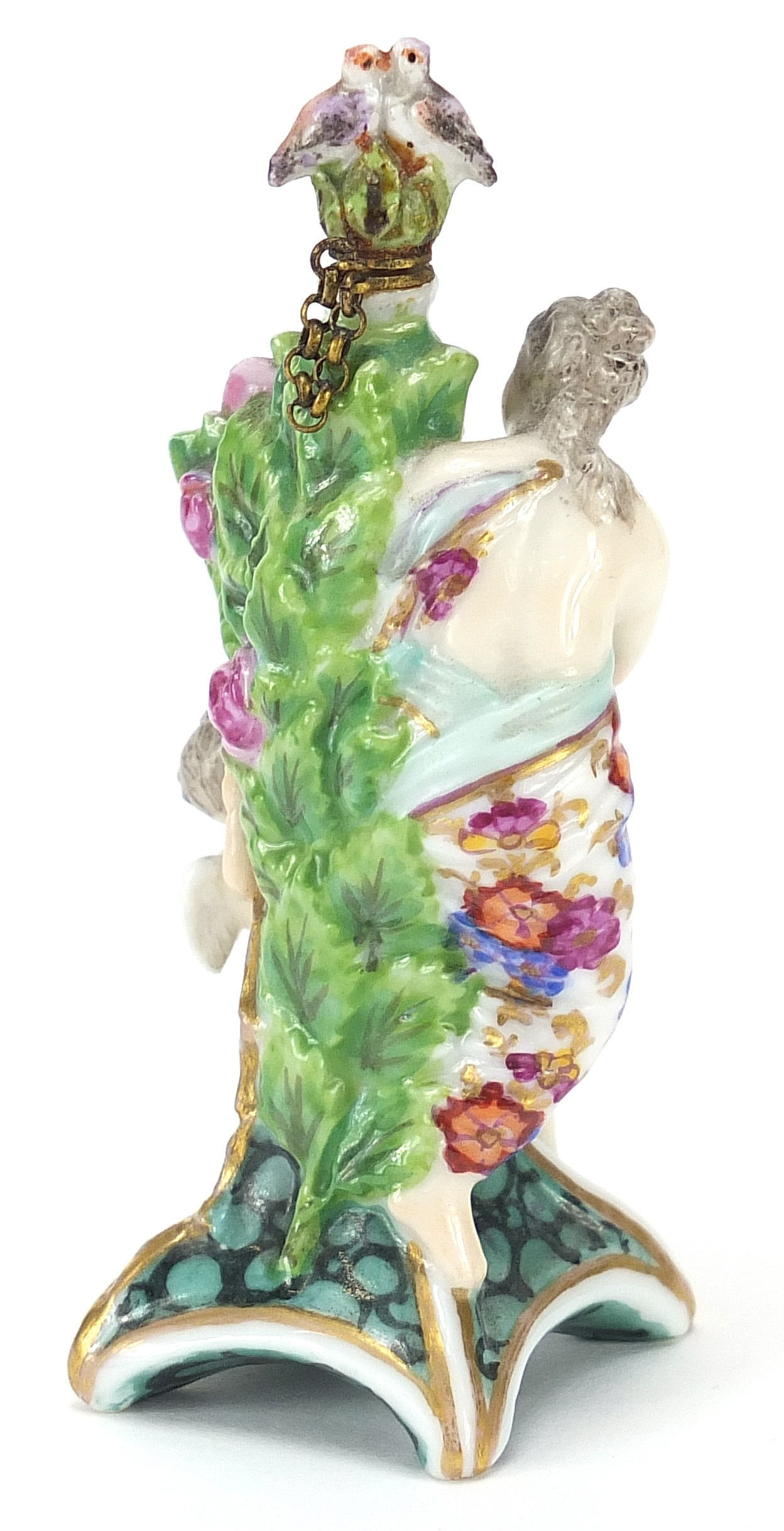 Antique Chelsea style figural scent bottle with bird stopper, 8.5cm high : For Further Condition - Image 3 of 4