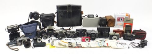 Vintage and later cameras and accessories including Halina, Polaroid, Bolex P4, Kodak and two