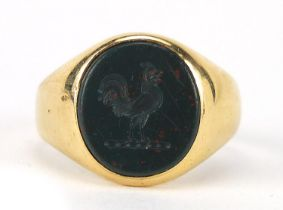 18ct gold bloodstone intaglio seal signet ring engraved with a rooster, size R, 7.7g : For Further