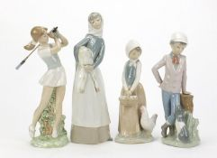 Lladro and Nao china figures including lady with lamb and female golfer, the largest 27.5cm high :