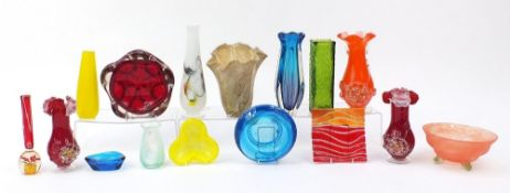 Collection of art glassware including Caithness vase, Kosta Boda style three footed bowl and large