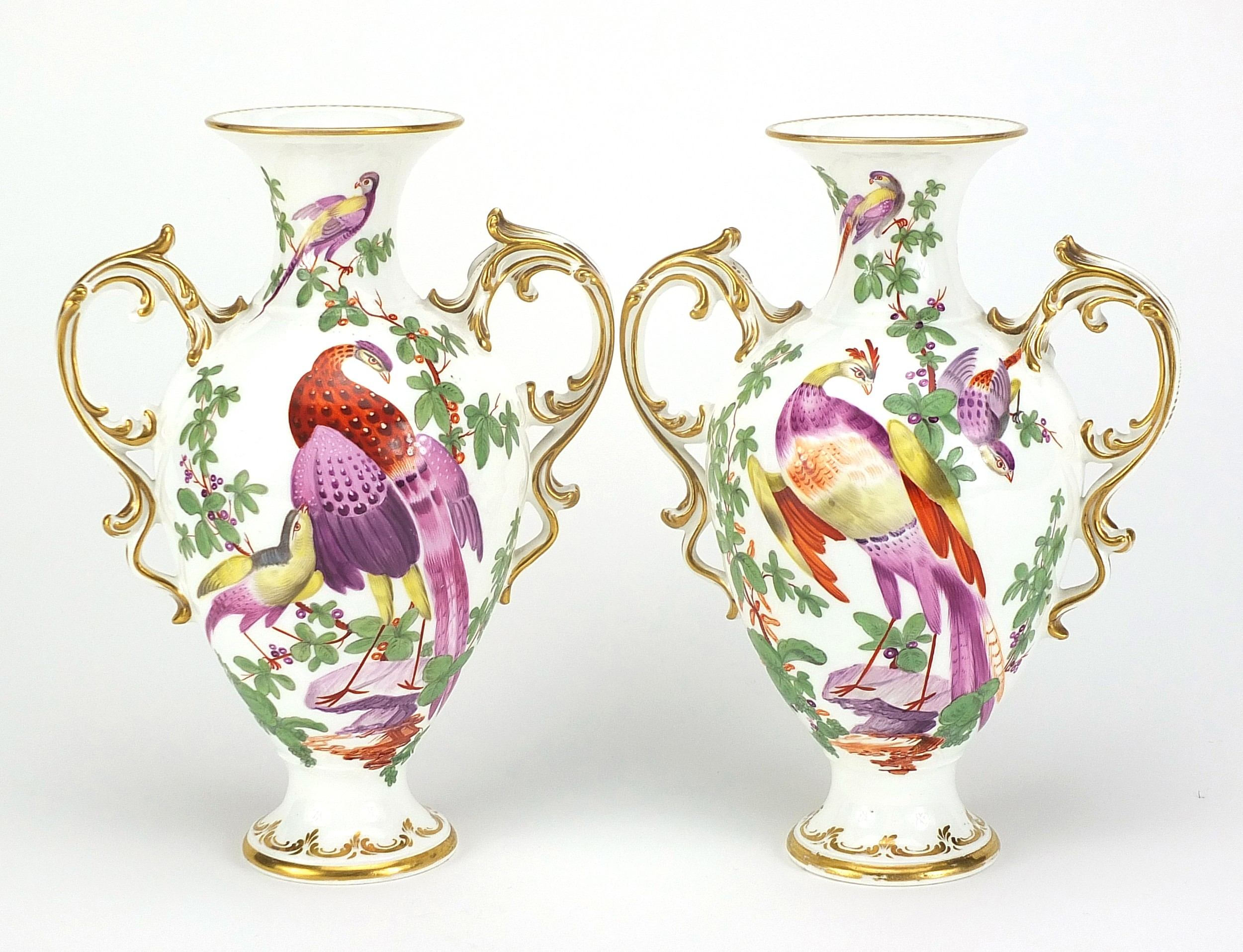 Pair of 19th century Chelsea style porcelain vases with twin handles, each hand painted with - Image 2 of 4