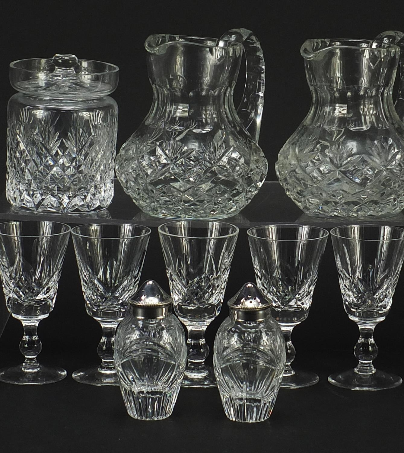 Cut glassware and crystal including pair of Waterford casters, Stuart and Royal Doulton, the largest - Image 3 of 8
