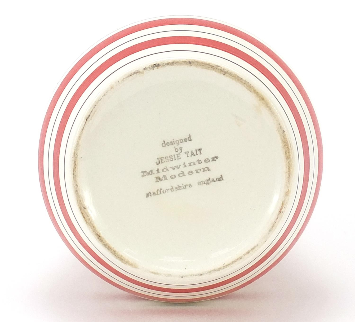Jessie Tait for Midwinter, modern vase with painted red stripes, 28.5cm high : For Further Condition - Image 4 of 5