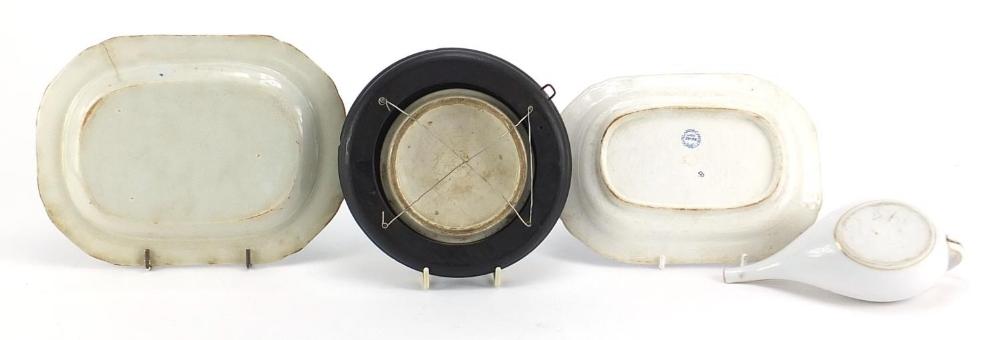 19th century ceramics including a Prattware Late Prince Consort pot lid and Copeland Spode blue - Image 4 of 6