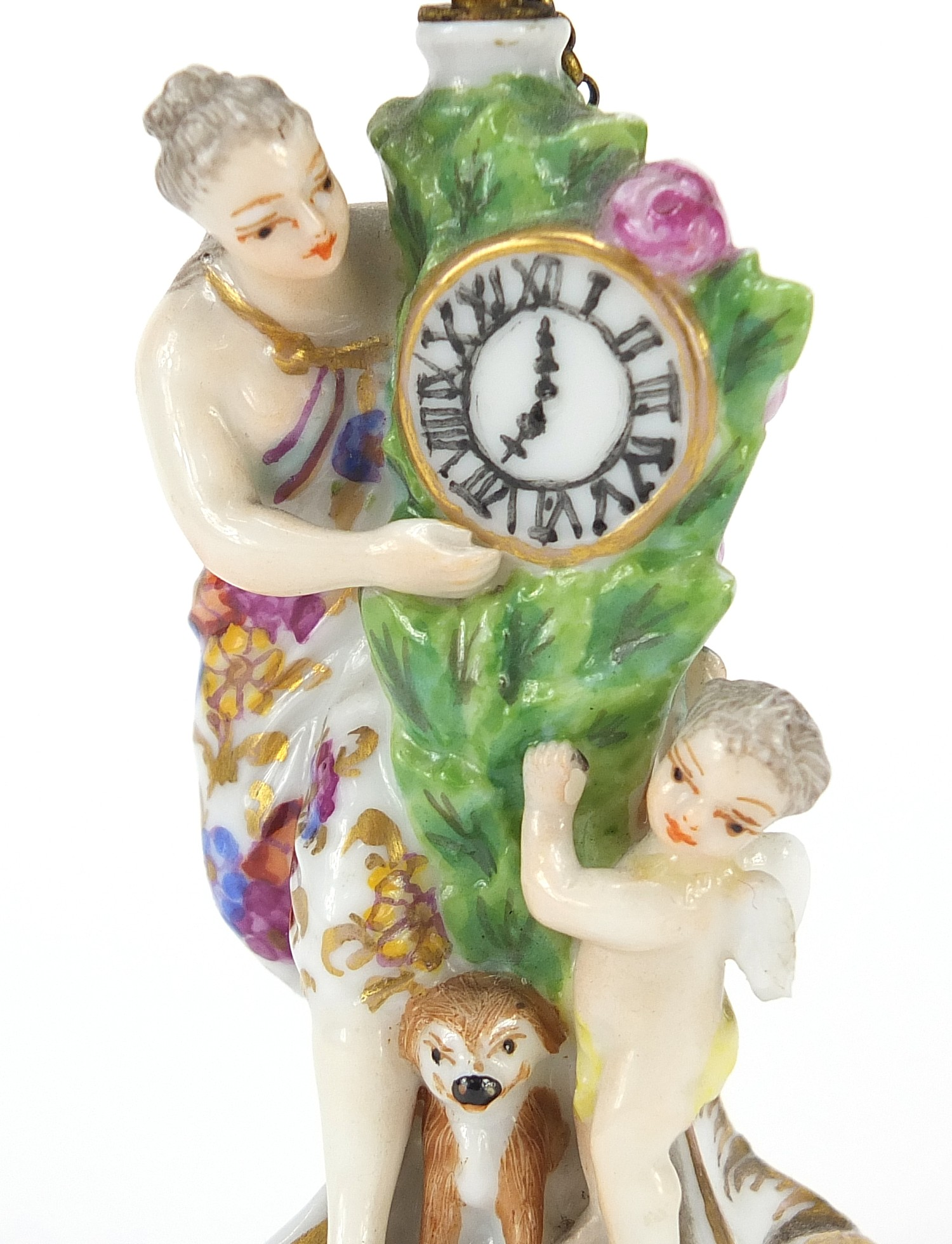 Antique Chelsea style figural scent bottle with bird stopper, 8.5cm high : For Further Condition - Image 2 of 4