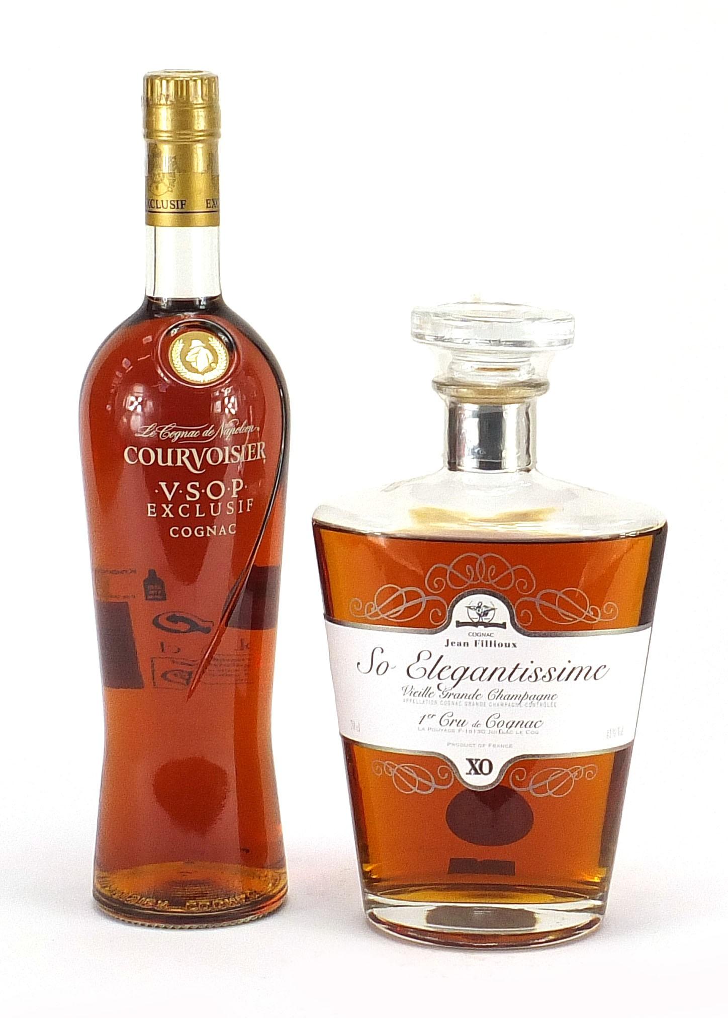 Two bottles of cognac comprising Courvoisier VSOP Exclusive and Jean Fillioux So Elegantissima 1er - Image 2 of 3