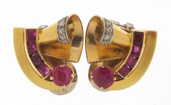 Pair of Art Deco unmarked gold ruby and diamond clip on earrings, (tests as 15ct+ gold) the