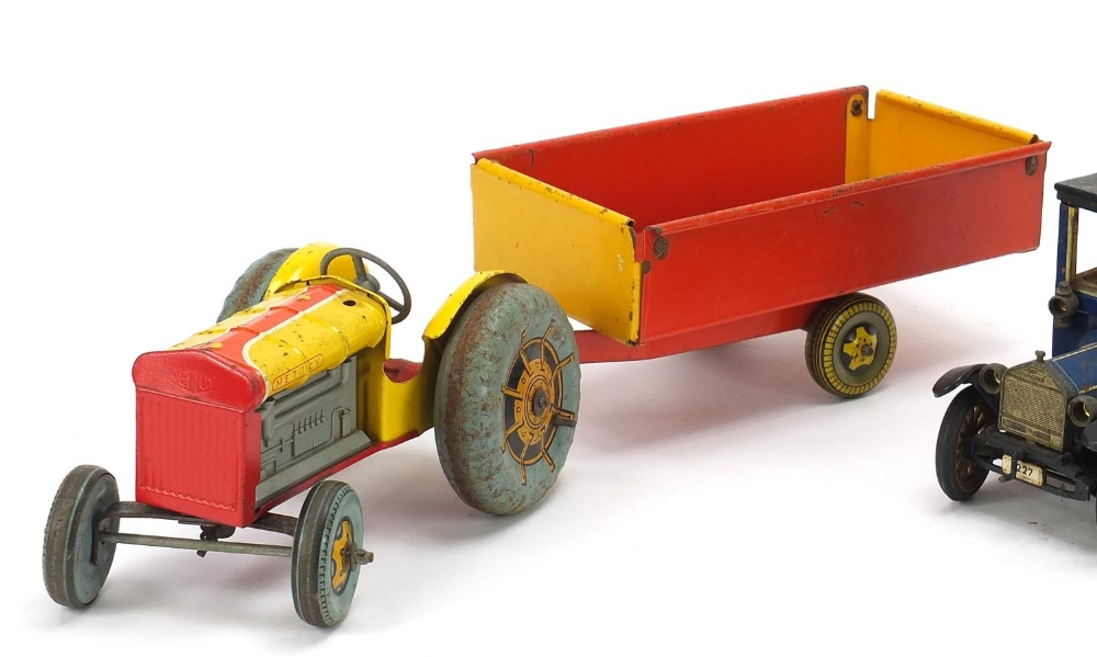 Antique and later tinplate toys comprising a Schuco Ford Coupet 1917, Chad Valley Harborme car and a - Image 2 of 6