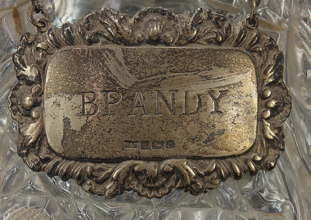 Glassware and a silver brandy decanter label, comprising two ship's decanters, set of four Waterford - Image 8 of 8