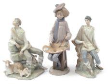 Three large Lladro and Nao figures comprising Shepherd Resting no 4571, Shepherd Boy Sitting no 4577