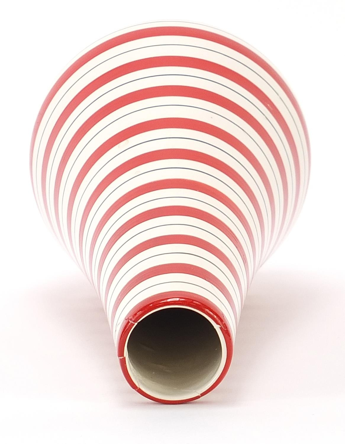 Jessie Tait for Midwinter, modern vase with painted red stripes, 28.5cm high : For Further Condition - Image 3 of 5